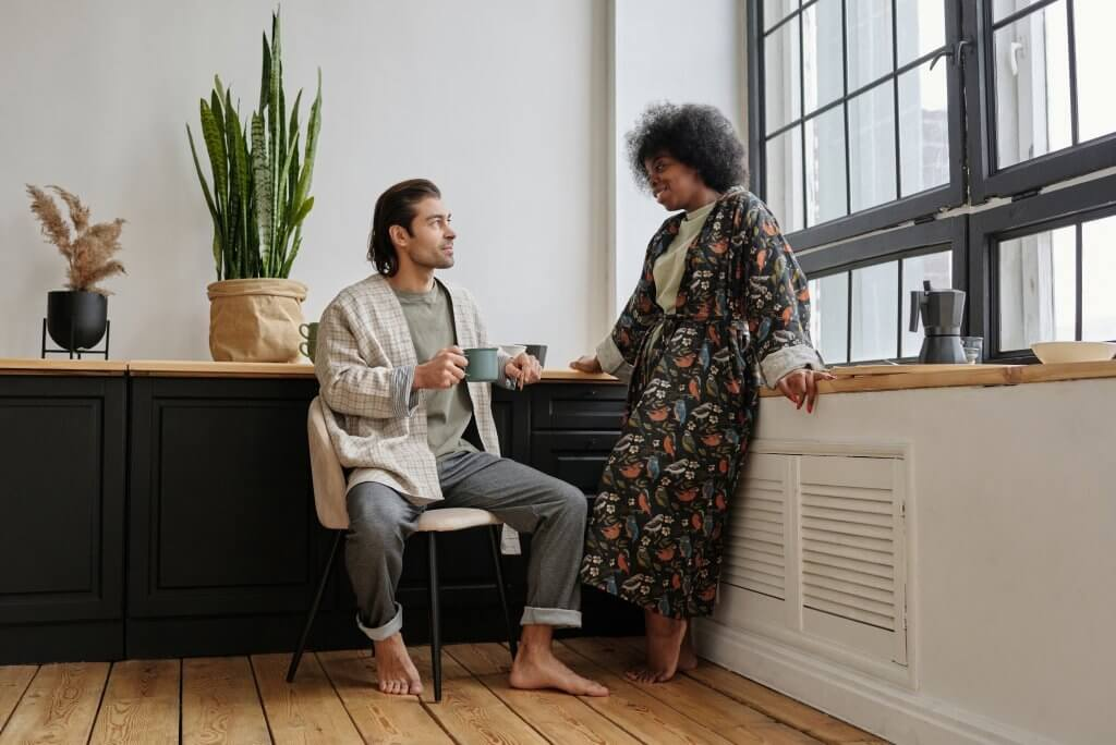 good habits man and woman talking planning routine